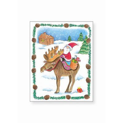 Glitter Christmas Card- Santa on a Moose