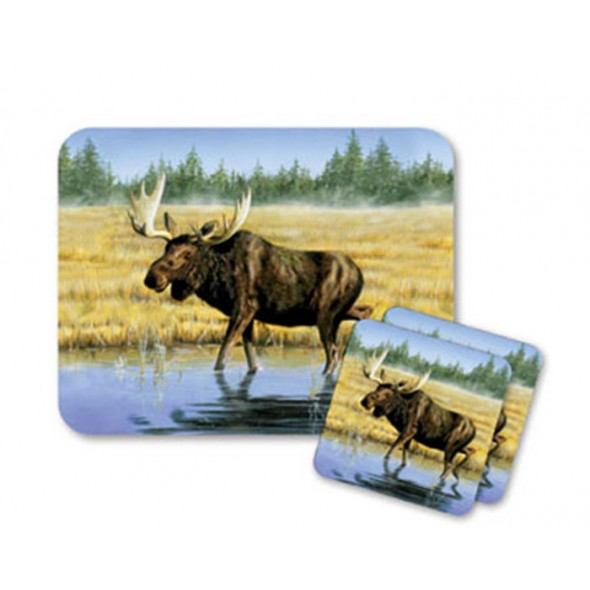 Mouse Pad and Coaster Set - Salt Water Moose