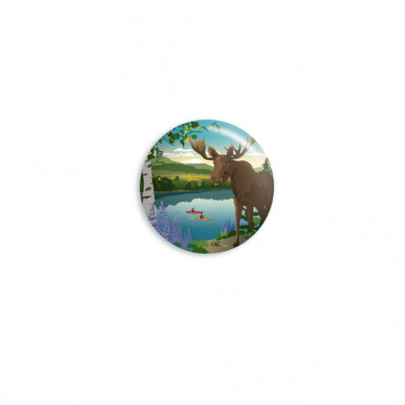 Moose Reflection Round Magnet