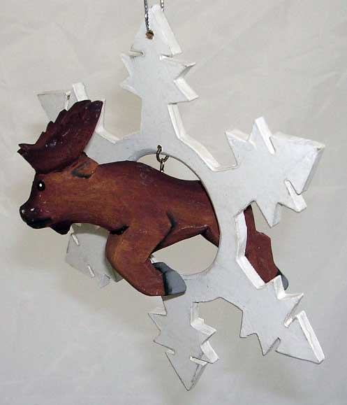 Moose Jumping through a Snowflake Ornament
