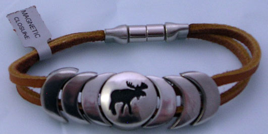 Stylish Metal Moose Bracelet with Tan Leather